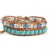 SeaPink Women's Genuine Leather Wrap Crystal Bead Bracelets,Turquoise Stone Double Wrap Boho Style Beads Bracelet (Blue Turquoise)