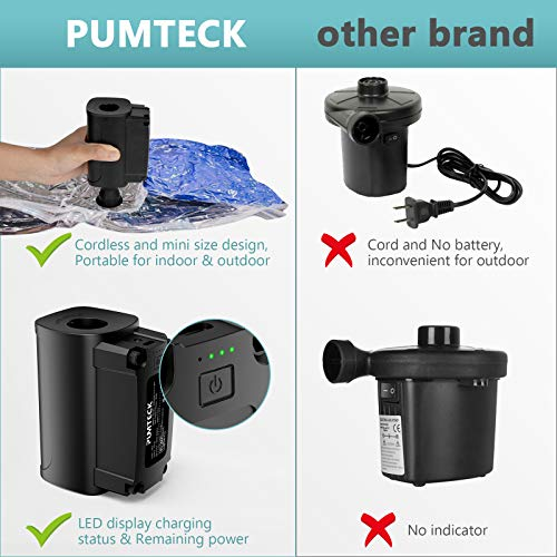 Pumteck Electric Air Pump, Rechargeable Portable Wireless Air Pump with 4000mAh Quick-Fill Inflatable Electric Pump for Airbed Air Mattress, Inflatable Boat, Swimming Ring, Yoga Ball, Camping