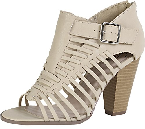 Delicious By Soda Mujeres Lecture Cutout Strappy Peep Toe Sandal Beige Pu