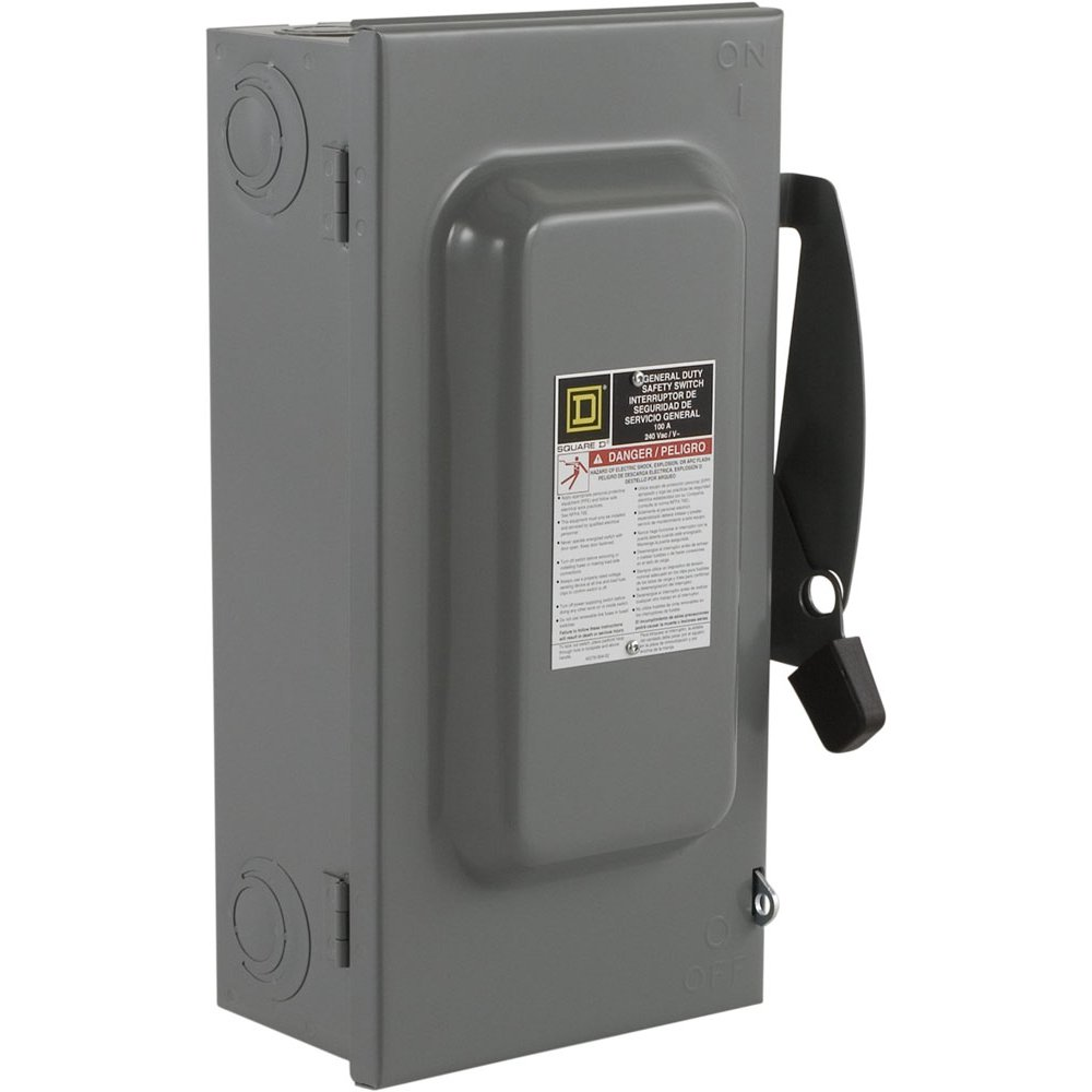 Square D by Schneider Electric D223N 100-Amp 240-Volt Two-Pole Indoor  General Duty Fusible Safety Switch with Neutral - Circuit Breaker Panel  Safety ...