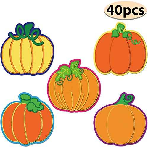 Thanksgiving Point Halloween Party (Thanksgiving Pumpkin Cutouts Classroom Decoration Pumpkin Colorful Cutouts with Glue Point Dots for Bulletin Board Classroom School Fall Theme Party, 5.9 x 5.9)