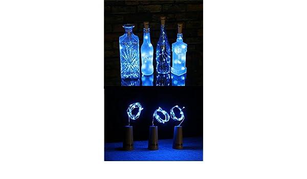 6 Paquetes de Luces de Botella Luces en Forma de Corcho con 20 LEDs Micro para Fiesta Cumpleaños Boda Decoración de Mesa de Hogar Azul 100cm (3 pilas de ...