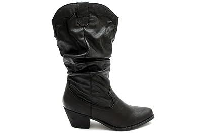 Mr Shoes F10454A , Bottes plissées à talon moyen , style cowboy , femme ,  noir