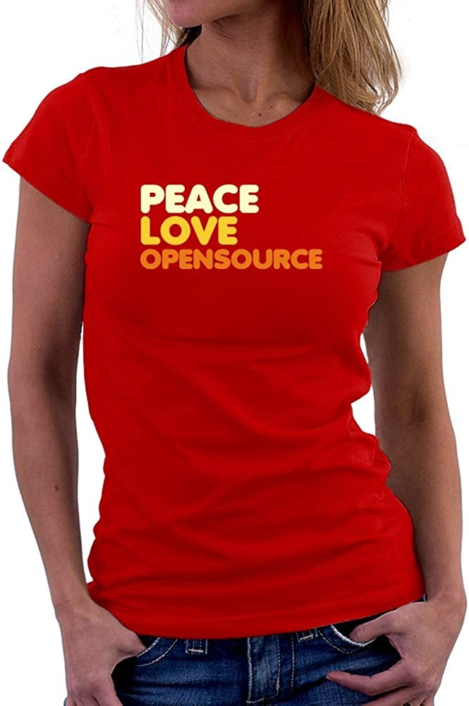 Teeburon Peace Love Open Source Women T-Shirt