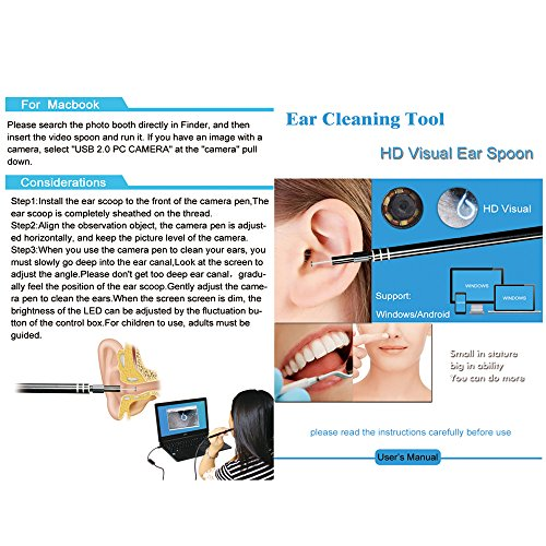 2 in 1 USB Port Ear Nose Camera Endoscope 5.5mm Visual Lens Mini Borescope Earpick Otoscope Endoscope for PC Windows by Generic (Image #3)