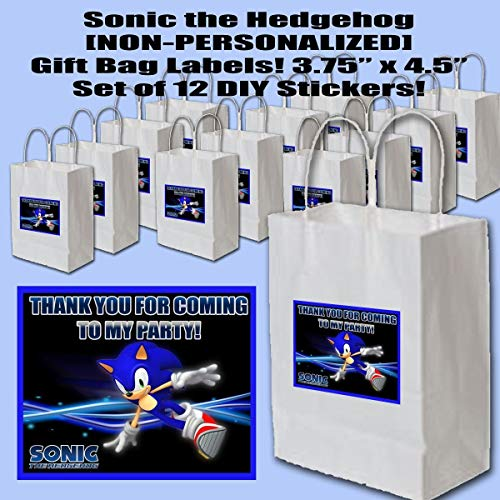 Sonic the Hedgehog Video Game Party Favors Supplies Decorations Gift Bag Label STICKERS ONLY 3.75