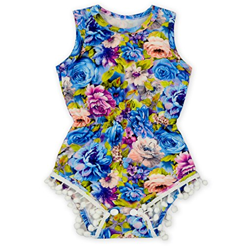 Anbaby Gilrs Bronzing Dot Romper Climbing Clothes With A Bow Headband Royal blue 24-36Months
