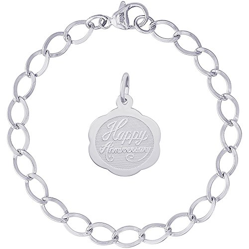 Rembrandt Charms Sterling Silver Scalloped Anniversary Charm on a Dapped Curb Bracelet, 8