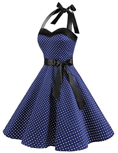 ... HUINI Vintage Kleid Neckholder Polka Dots Retro 50er 60er Jahre Rockabilly  Swing Kleid Pinup Ärmellos Cocktailkleid ... 3a43ee3d22
