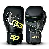 Starpro Boxing Kickboxing Training Gloves for Men & Women, Premium Construction Muay Thai Style Punching Bag Mitts, Fight Gloves Martial Arts (Black, 16oz)