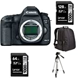 Canon EOS 5D Mark III Digital SLR Camera Body + Lexar 128GB Memory Card, Lexar 64GB Memory Card, AmazonBasics Tripod, Bag, and 5 Lens Filters