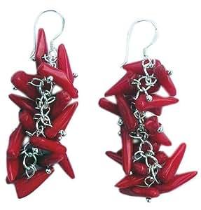 Pendientes de coral rojo en bruto y ganchos de plata 925