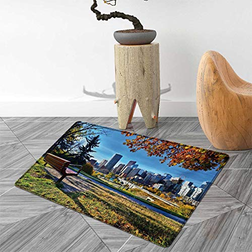 City Door Mat Rug Park Bench Overlooking The Skyline of Calgary Alberta During Autumn Tranquil Urban Bath Mat 3D Digital Printing Mat 4'x6' Multicolor