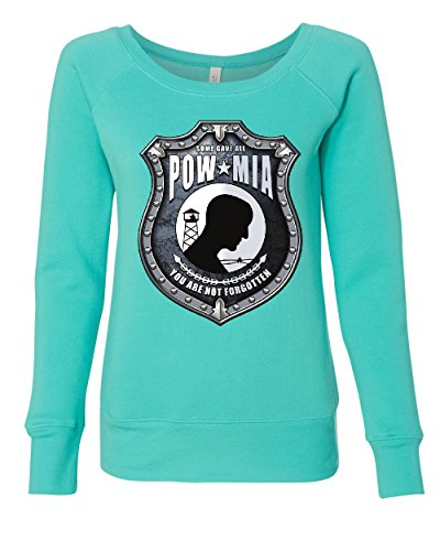 (Some Gave All POW MIA Sweatshirt You are Not Forgotten Teal L)