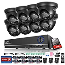 SANNCE 8-Channel HD 1080N Home Security System DVR and (8) 720P Indoor/Outdoor Weatherproof Surveillance Cameras with IR Night Vision LEDs, Remote Access - 1TB Surveillance Hard Disk Drive