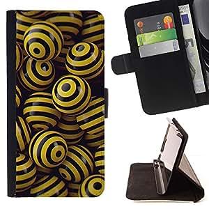 Momo Phone Case / Flip Funda de Cuero Case Cover - NEGRO y bolas amarillas - LG Nexus 5 D820 D821