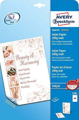 Avery Zweckform 2581 Superior Inkjet Papier (A4, beidseitig beschichtet, matt, 200 g/m²) 25 Blatt