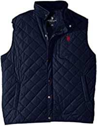 Men's Big-Tall Diamond Quilted Vest with Corduroy Collar
