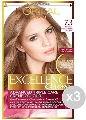 Set 3 EXCELLENCE 7,30 Rubio Dorado Luz Y Color Tinte: Amazon ...