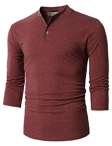 H2H Men's Hooded Short Sleeve Polo Henley Shirt 3/4 Sleeves DARKMAROON US S/Asia M (CMTTS0205)