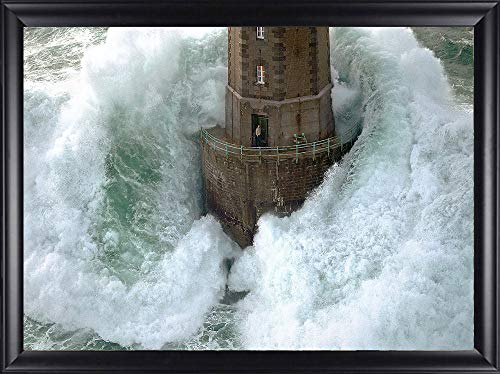Art Photo Lighthouse (Picture Peddler Framed La Jument Phares Dans La Tempete Lighthouse Photograph by Jean Guichard Art Print Poster Famous Image Lighthouse Crashing Wave Man Standing Outside, 31.5x22.5 Finished Size)