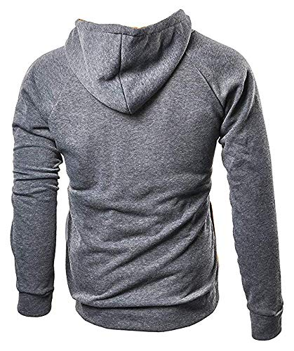 Windtear Mens Three Color Matching Long Sleeve Pullover Hoodies