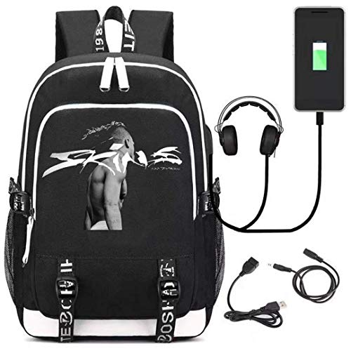 Xxxtentacion Elephant Letter Backpack for Teens and Fans,Casual Backpack with Big Capacity,School Bag with USB Charging Port
