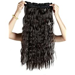 13colors Synthetic Fiber Clips in on Hair Extension One Piece 5 Clips 3/4 Full Head Long Straight Curly Wavy 22 inch Corn Wave (Dark Brown)