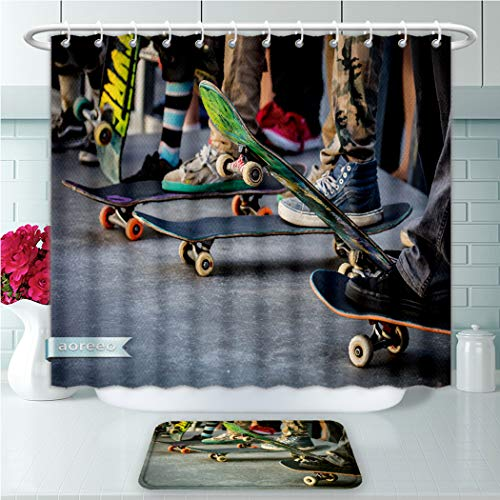 Unique Shower Curtains and Bath Rugs Set A Skateboarder in Action at Venice Beach Skate Park in Los Angeles California U Bath Curtains and Doormats Suit for Bathroom Extra Long Size 72