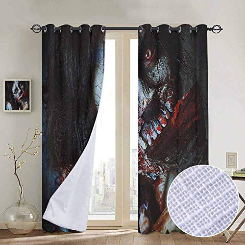 NUOMANAN Customized Curtains Zombie,Scary Dead Woman with a Bloody Axe Evil Fantasy Gothic Mystery Halloween Picture, Multicolor,Blackout Draperies for Bedroom Living Room 120