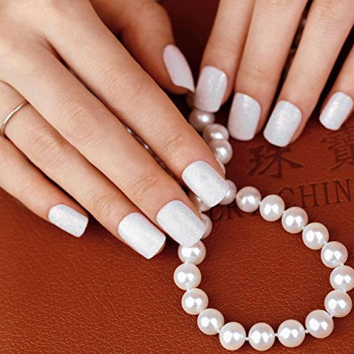 [ArtPlus 24pcs Elegant Snow Sparkle False Nails French Manicure Full Cover Medium Length with Glue Fake] (Red Fake Nails)