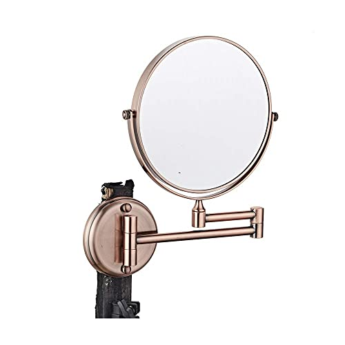 ZETA Cordless Bathroom Shower Retractable Cosmetic Makeup Mirror Rose Gold 5X 8 IN