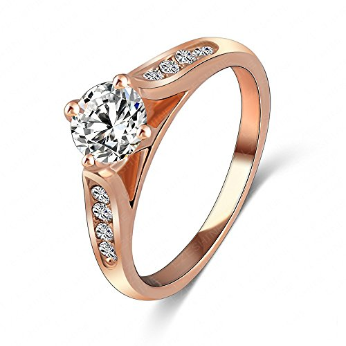 b7602c97d LuckyWeng New Exquisite Fashion Jewelry Rose Gold Austrian Crystal Diamond  Zircon Ring
