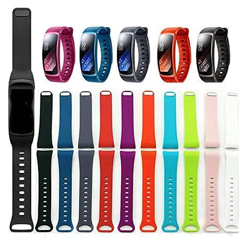 Bracelet pour montre connectée Samsung Gear Fit II, bracelet de sport en silicone avec fermeture à clip en acier inoxydable, bracelet de rechange pour ...