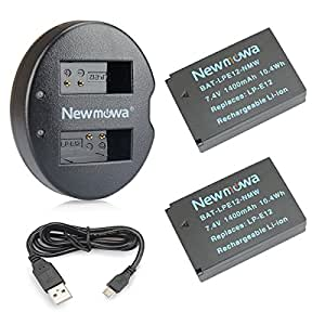 Newmowa LP-E12 Battery (2-Pack) and Dual USB Charger for Canon LP-E12 and Canon EOS M, EOS Rebel SL1, EOS 100D