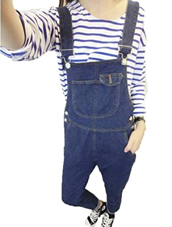 b47054b3abb Runyue Womens Casual Plus Size Loose Jeans Straight Overalls Baggy Dungarees  Rompers Denim Trousers Jumpsuit Blue 2XL  Amazon.co.uk  Clothing