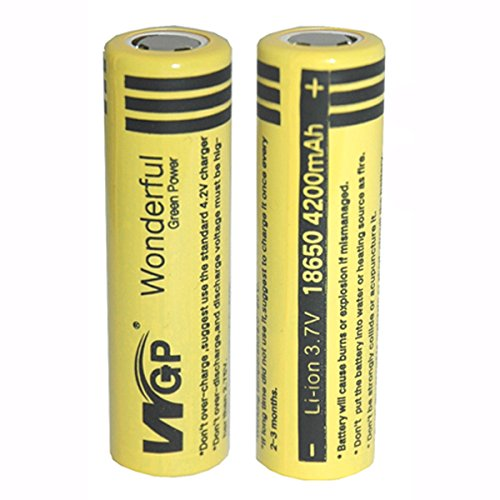 Mickeyattraction New Set WGP 2pcs 18650 4200mAh 3.7V Lithium Li-ion Flat Top High Drain Dynamic Rechargeable Battery for UltraFire Cree Headlamp Torch Flashlight (Pair)