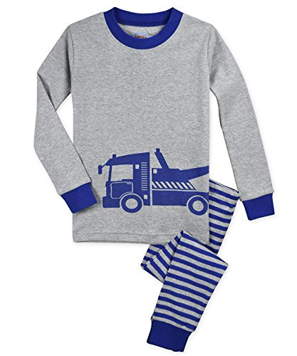 - Sara's Prints Kids' Big Cotton Long John Pajamas, Town Truck 8