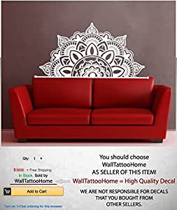 Half Mandala Wall Decals Headboard Vinyl Sticker Art Boho Bohemian Decor Yoga Namaste Decal for Bedroom Home Decor Room Ms782 (17 x 35)