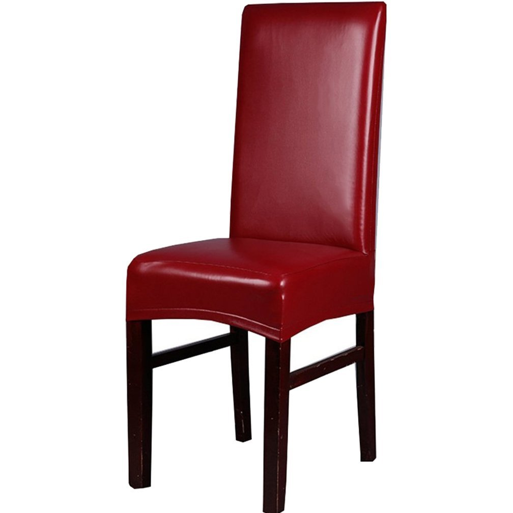 Inroy PU Chair Covers Artificial Stretch Leather Chair Protector Waterproof and Oilproof Universal Seat Slipcovers (1PCS, B-Red)