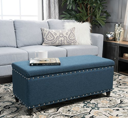 Storage Ottoman Bench Blue Nailhead Studded Fabric Coffee Table - Studded coffee table