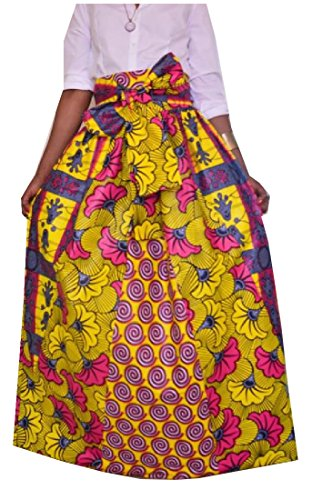 Comfy Women's African Print Dashiki Casual High Waist Maxi Skirt AS1 L by Comfy