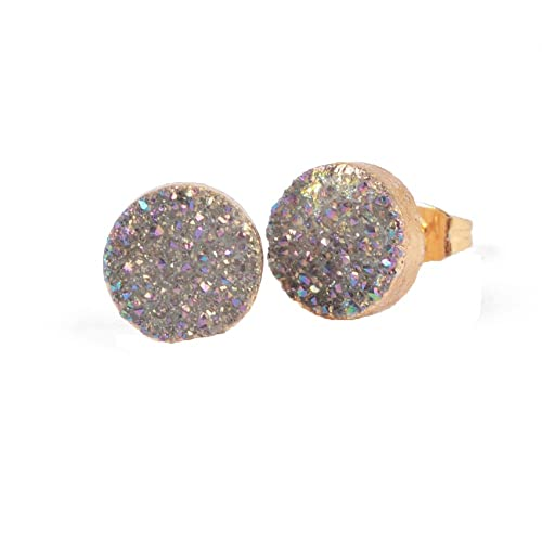 ed5fd5524 JAB 1 Pair Gold Plated 10mm Round Natural Agate Druzy Stud Earrings Women  Jewelry Light Violet