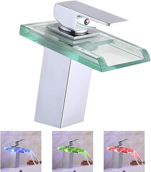 grifo monomando cristal iluminaci/ón RGB Grifo con iluminaci/ón LED 3 colores cascada