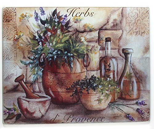 Grant Howard Herbs de Provence Glass Cutting Board, 12 x 15 Inch