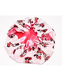 (Newborn - Toddlers Reversible Satin Bonnet MINNIE MOUSE - SHOCKING PINK Lined) HANDCRAFTED for Newborn to age 3