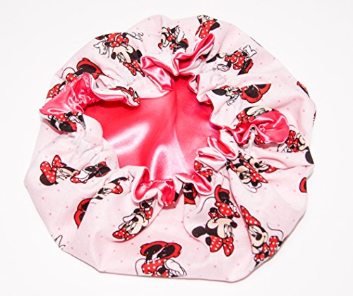 (Newborn - Toddlers Reversible Satin Bonnet MINNIE MOUSE - SHOCKING PINK Lined) HANDCRAFTED for Newborn to age 3 (Baby Bonnet)