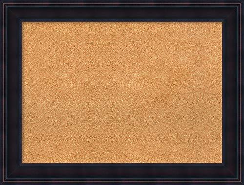 (Amanti Art Large, Outer Size 33 x 25 Natural Cork Annatto Mahogany Framed Bulletin Boards, 28x20)