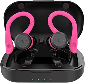 APEKX Bluetooth Headphones True Wireless Earbuds with Charging Case IPX7 Waterproof TWS Stereo Sound Earphones Built-in Mic in-Ear Headsets Deep Bass for Sport Running Pink