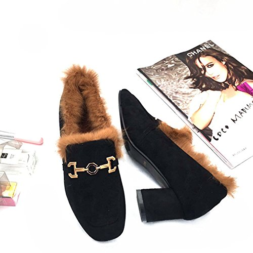 HGTYU-Stylish Short Boots Warm Winter Matte Cotton Shoes Metal Buckle Down Fashion Short Boots Air Head Black kQVBKyT2